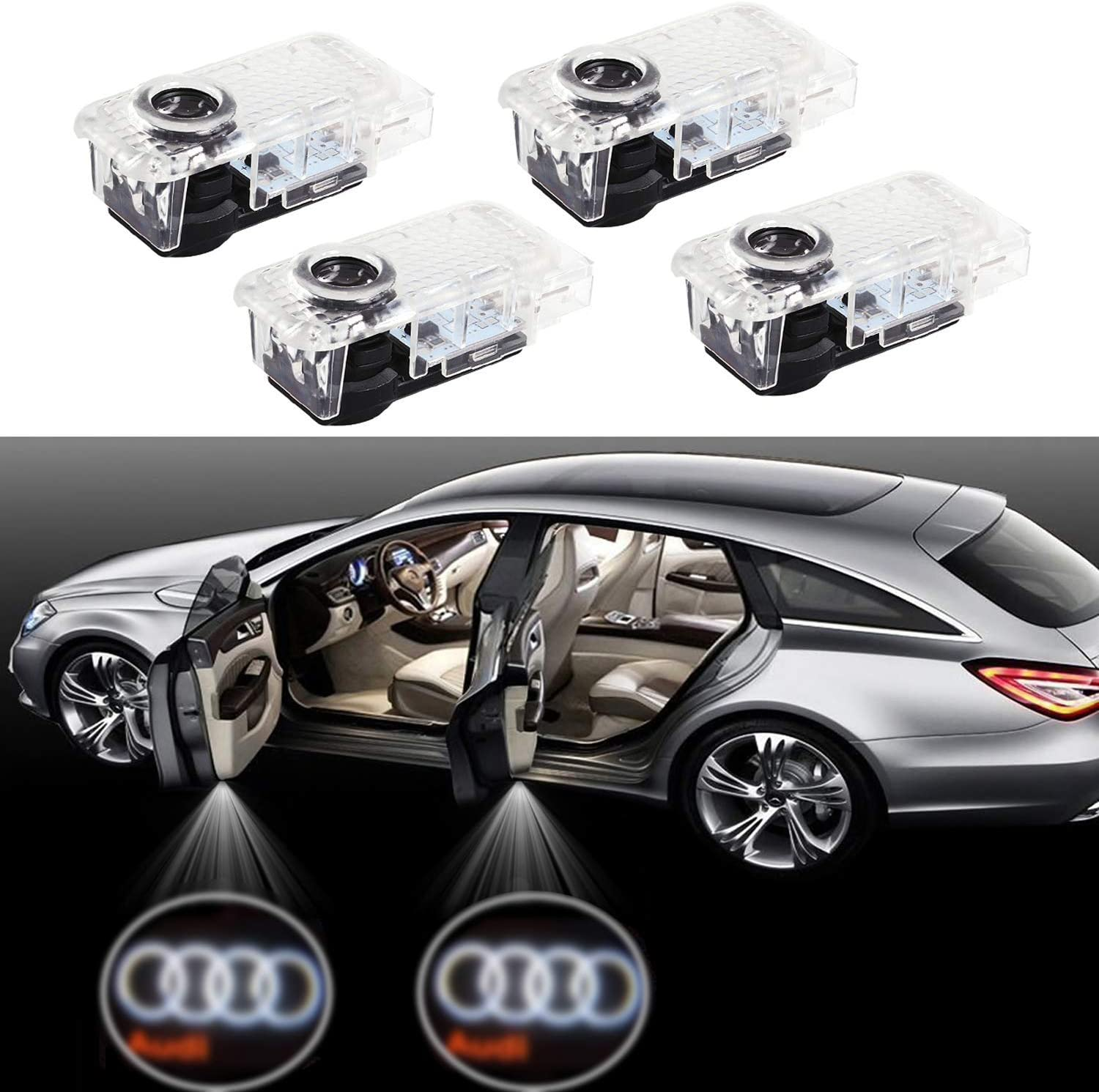 2PCS Carbon Fiber Wireless Universal Car Projection LED Projector Door Shadow Logo Light Welcome Lamps For Mitsubishi